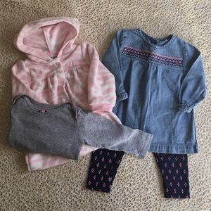 BUNDLE CARTERS Girls Pink Blue Outfit 9 months